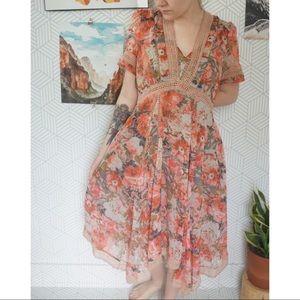 Anthro Ranna Gill Boho floral flowy dress 8